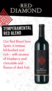 Red Diamond Tempermental Red Blend Waitstaff Card