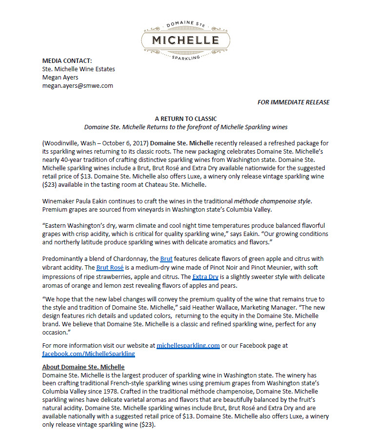 A Return to the Classic: Domaine Ste. Michelle Press Release