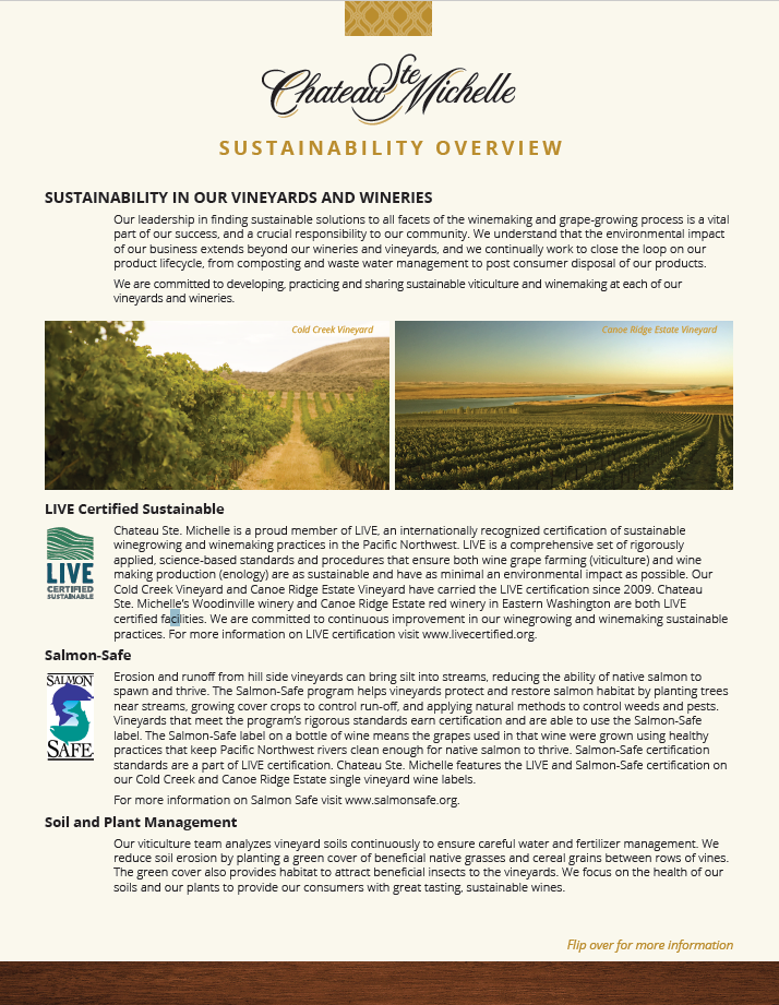 Chateau Ste. Michelle Sustainability Overview
