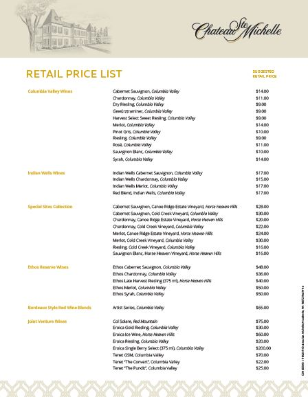 Chateau Ste. Michelle - Retail Price List