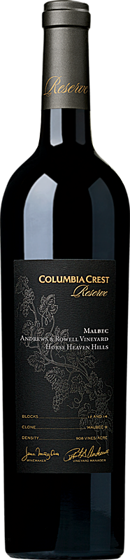Columbia Crest 2015 Reserve Malbec, Andrews & Rowell Vineyard Horse Heaven Hills Alternative Bottle Shot