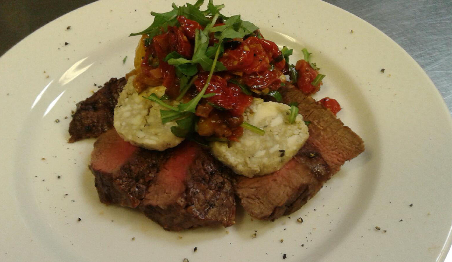 Grilled Steak with Cherry Tomato Relish and Gorgonzola Butter