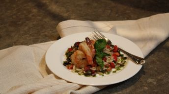 Puttanesca Orzo Salad with Garlic Prawns