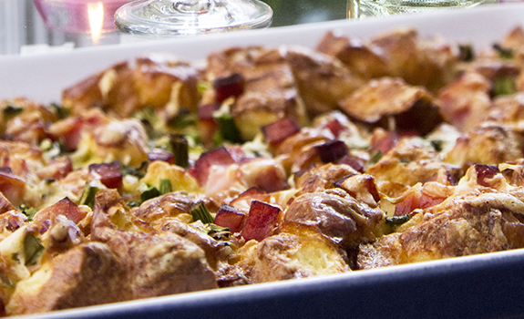 Ham, Asparagus and Goat Cheese Strata