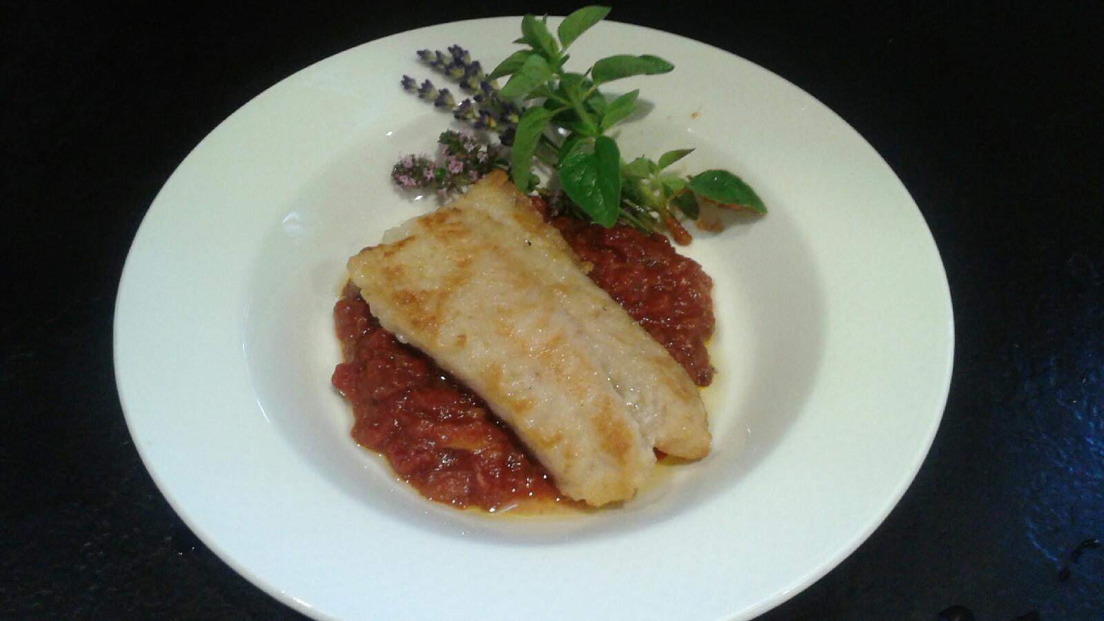 Seared Rockfish, Tomato-Roasted Garlic Sauce