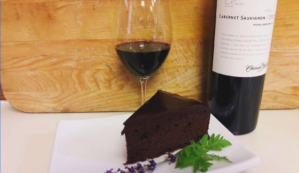 Dark Chocolate Cake with Cabernet Sauvignon Glaze