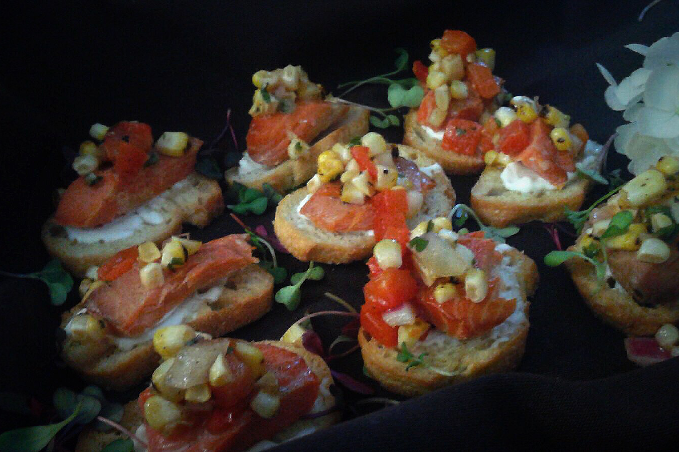 Smoked Salmon Crostini with Corn Salsa