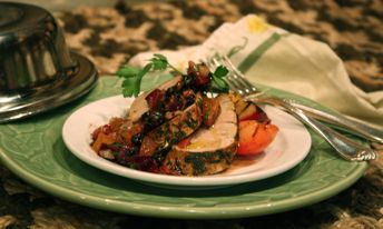 Herb-Rubbed Grilled Pork Tenderloin with Grilled Plums