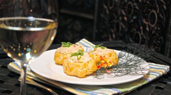 Cougar Gold Gougere with Crab Salad