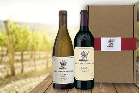 2-bottle box and bottle of S.L.V. & Danika Ranch Chardonnay on a table in a vineyard