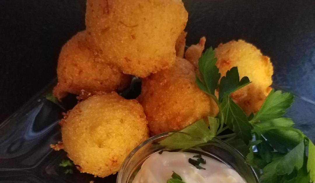 Lobster Hushpuppies with Garlic Aioli