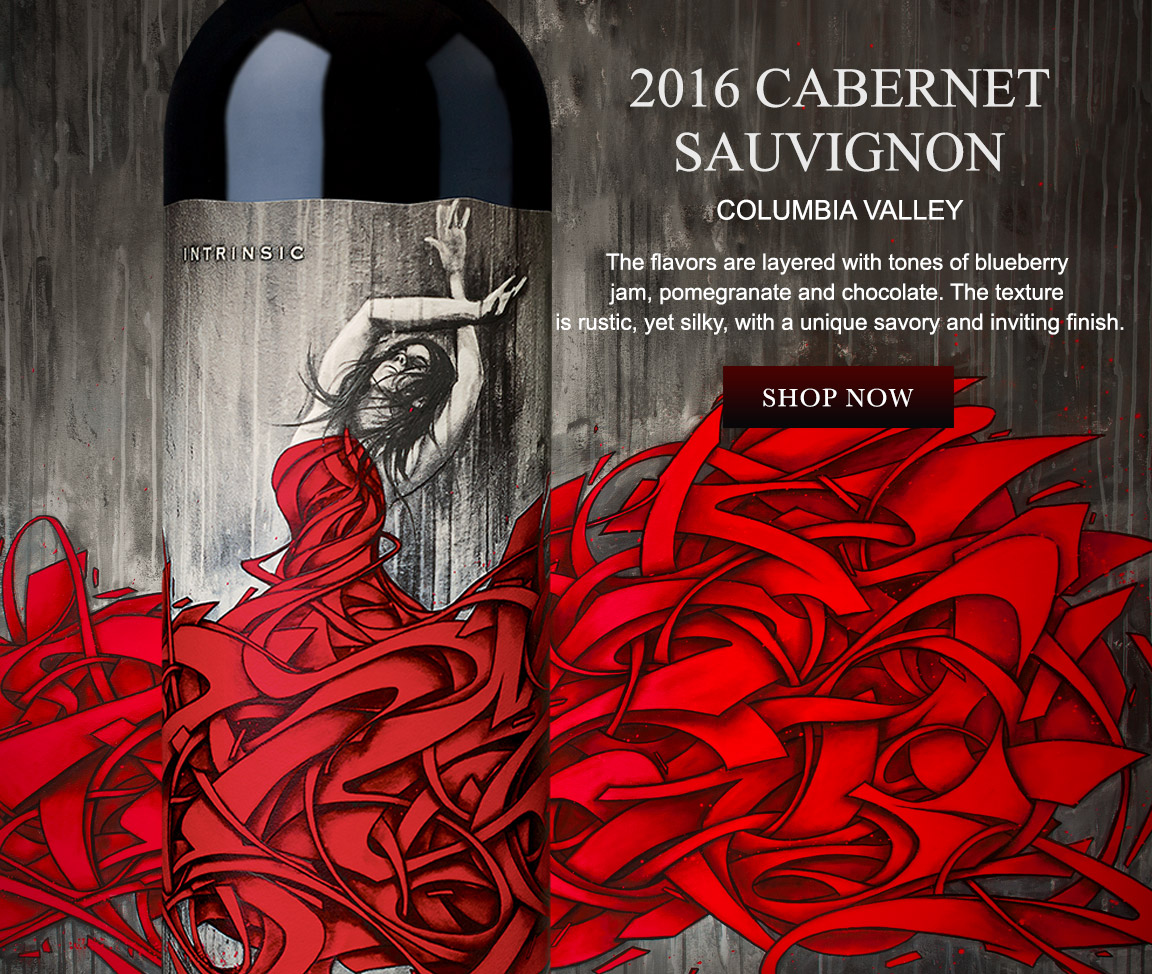 Cabernet Sauvignon wine bottle & artwork