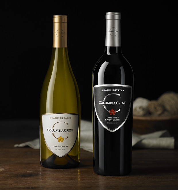 Image of Columbia Crest Grand Estates Chardonnay and Grand Estates Cabernet Sauvignon.