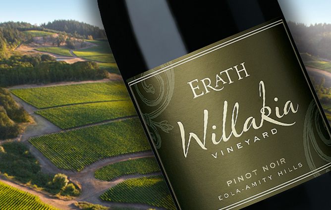 A bottle of Erath Willakia Pinot Noir superimposed over the rolling hills of the vineyard in summer
