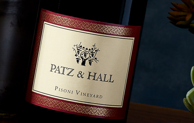 a close up on the Patz & Hall label from Pisoni Vineyard