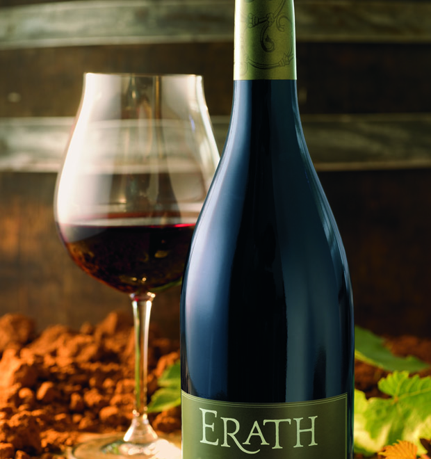 Image of glass of wine and bottle of Erath wine