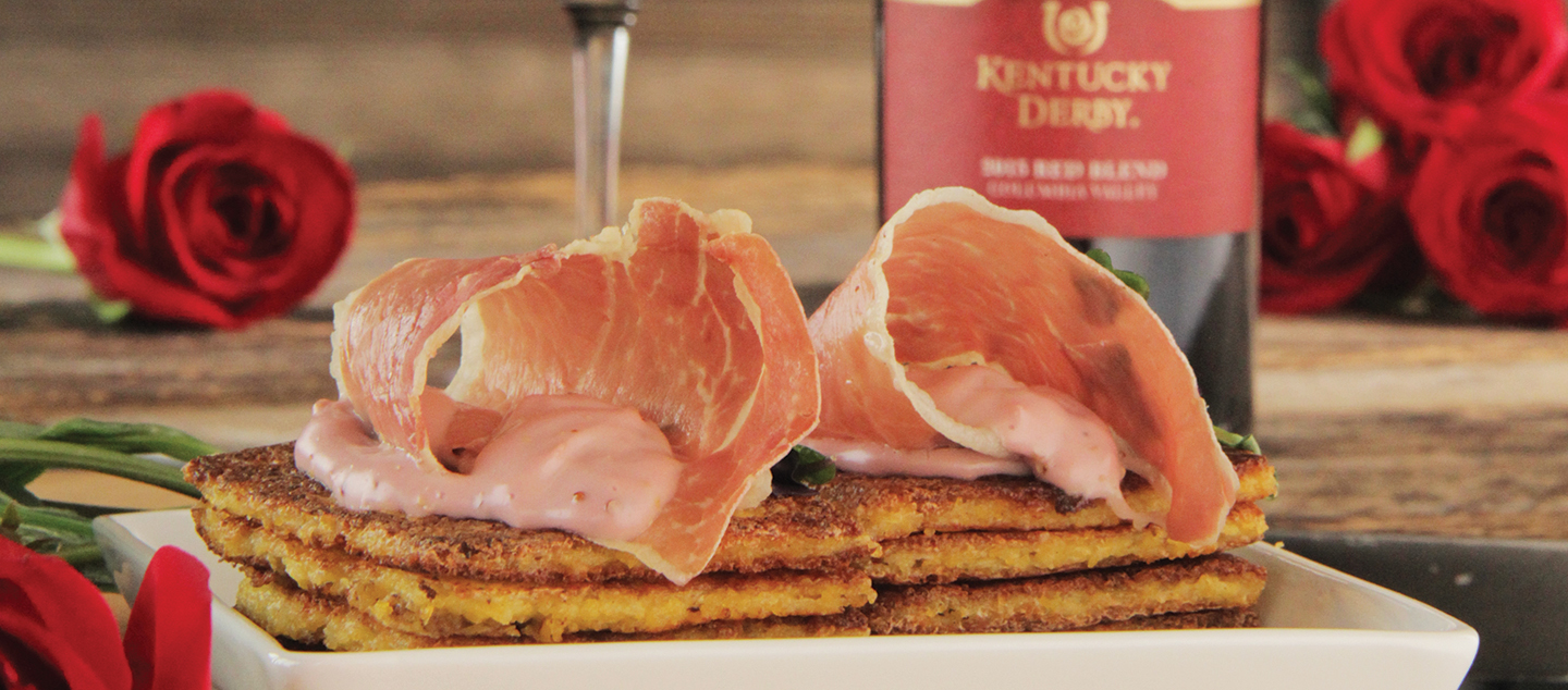 FRIED GRIT CAKES WITH PROSCIUTTO & DERBY MAYONNAISE