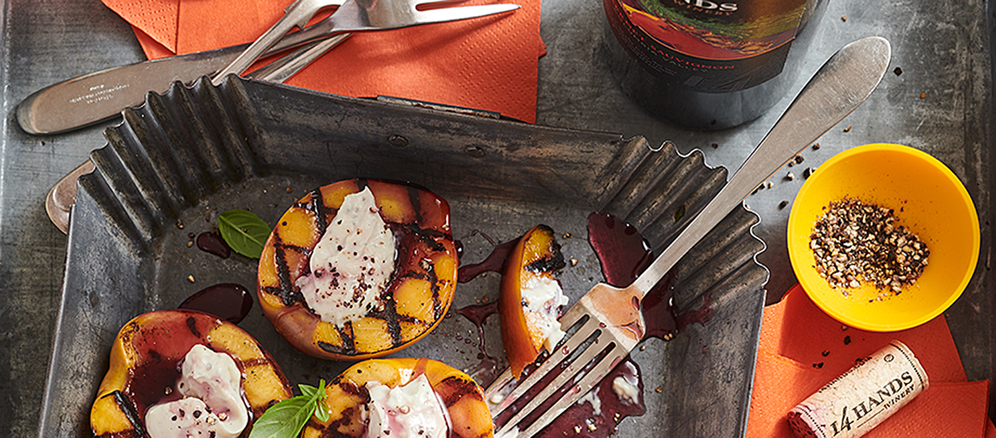 GRILLED NECTARINES WITH GOAT CHEESE