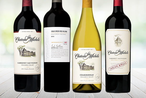 4 bottles of Chateau Ste. Michelle Wine