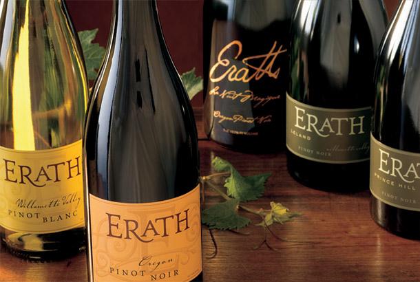 Bottles of Erath wine