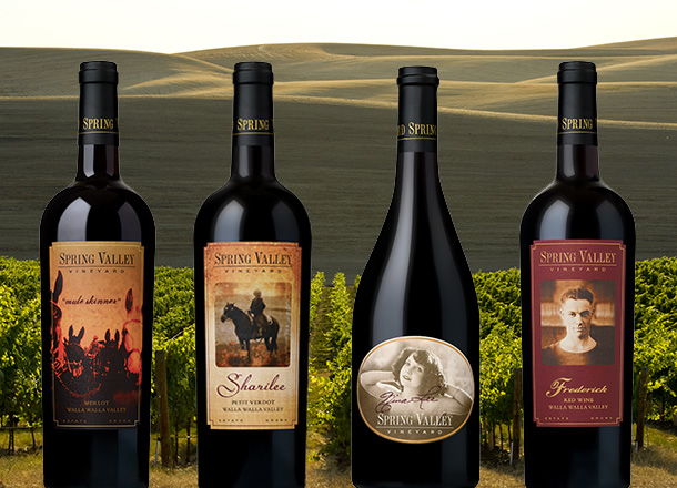 Bottles of Spring Valley Vineyards wine