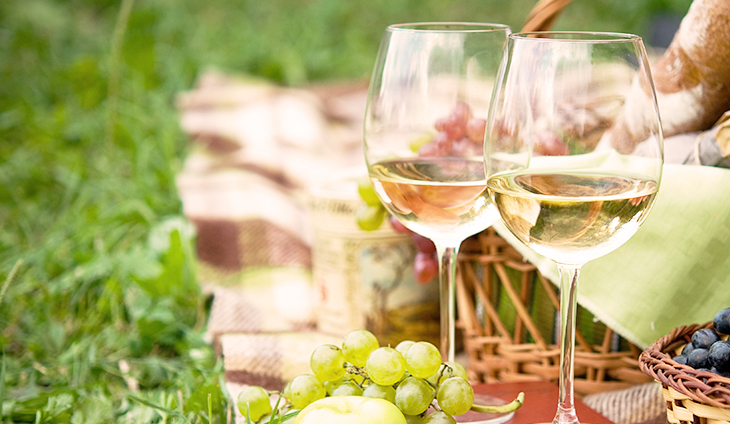 Two glasses of wine with food