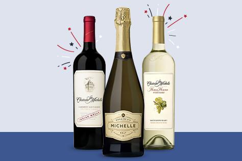 Red, White & Brut wine bottles