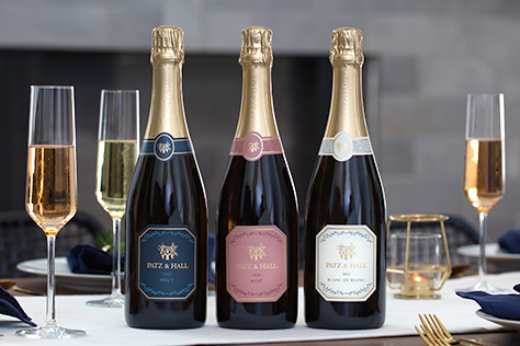North Coast Blanc de Blanc, Brut and Brut Rosé bottles