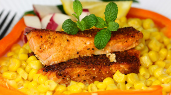 Salmon with Corn Topping