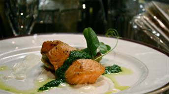 Copper River Salmon with Mango Basil Beurre Blanc