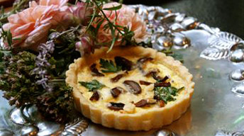 Wild Mushroom Tart with Peppered Bacon