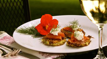 Corn-Jalapeno Cakes with Smoked Salmon