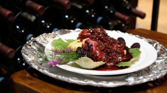 Peppercorn-Crusted Wild King Salmon with Cabernet Franc