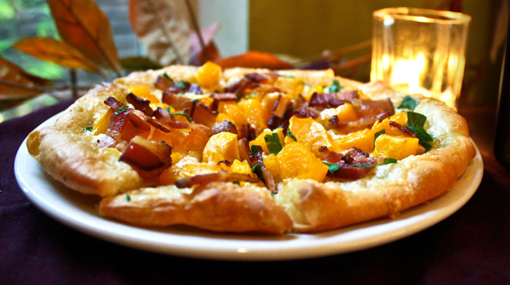 Butternut & Cougar Gold Pizza with Smoked Bacon