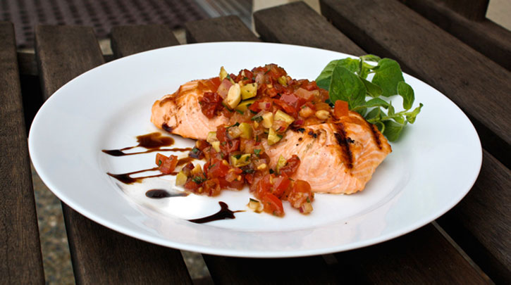 Grilled Wild King Salmon with Italian Salsa