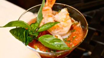 Heirloom Tomato Gazpacho with Grilled Prawns & Scallops