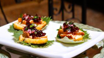 Wild King Salmon & Chukar Cherry Chutney on Crostini