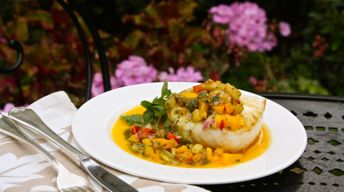 Seared Sea Bass with Mango-Ginger Beurre Blanc